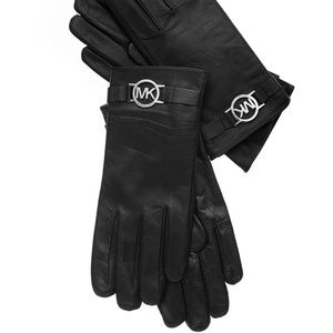 Michael Kors Leather with Logo Gloves